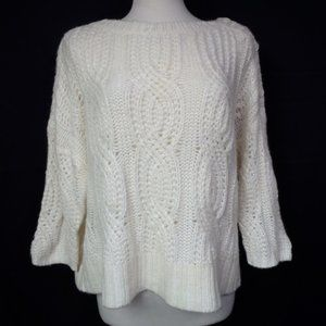 Ann Taylor Sweater Size Large Ivory Cable Knit